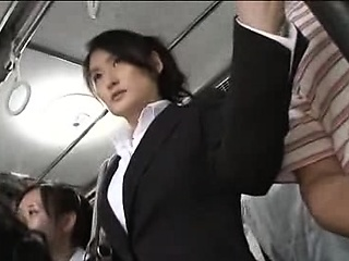 Japanese public bus blowjob and enjoyment from