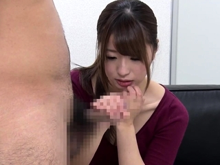 UNCENSORED CFNM japanese blowjob with messy cumshot