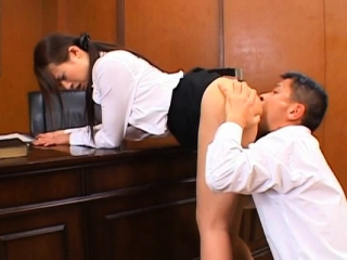 Oriental teacher gets the brush hirsute cunt fucked ans creamed